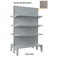 Narrow Double Sided Gondola Volcano Pegboard Back Shelving Bays
