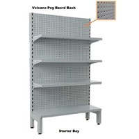 Narrow Single Sided Gondola Volcano Pegboard Back Shelving Bays