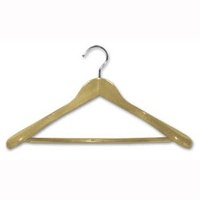 100 x Adult Wood Suit Hanger with Wide Rail - Natural