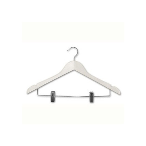 100 x Adult Wood Shirt Hanger with Clips - White
