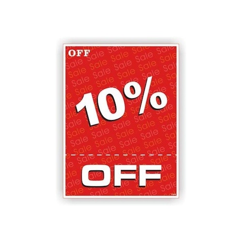10% OFF Display Card - 500mm x 375mm